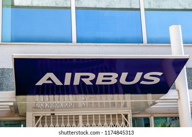 Sophia Antipolis, France - August 19, 2018:  Sign of Airbus on the building in Sophia Antipolis France.  Airbus is a European aerospace corporation.