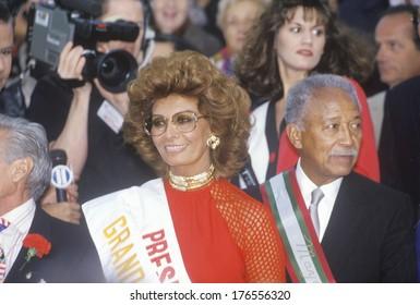 Sophia Loren and Mayor David Dinkins, Columbus Day Parade, New York City, New York