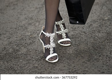 Sophie Hermann is pictured after the Marina Hoermanseder fashion show during the Mercedes-Benz Fashion Week Berlin Autumn/Winter 2016 in Berlin, Germany on January 21, 2016. Detail of the shoes