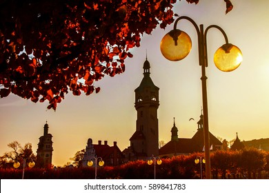 Sopot alley with tower and lantern in autumn