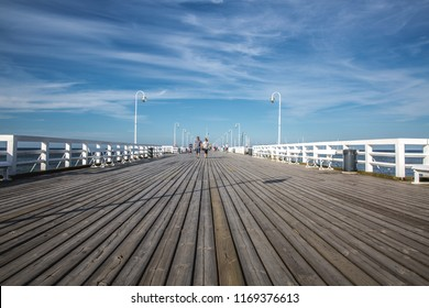SOPOT, POLAND - 05.23.2018: The Sopot Pier in Sopot,the pier is the longest wooden pier in Europe. Sopot, Poland.