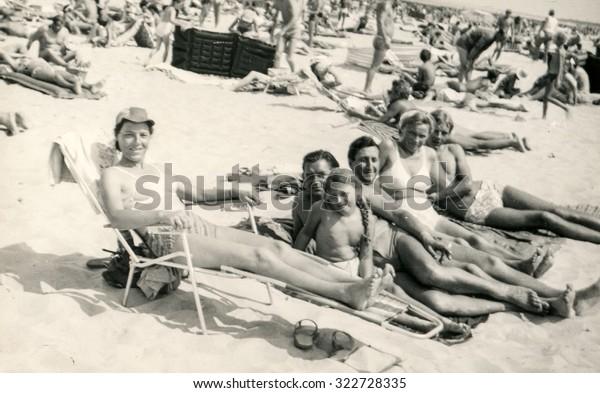 SOPOT, POLAND, CIRCA 1960: People enjoy summertime on beach