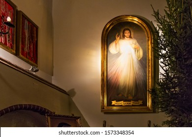 SOPOT, POLAND - DECEMBER 20, 2017: The venerated image of Jesus Christ and Divine Mercy in the Garrison Church of St. George in Sopot.