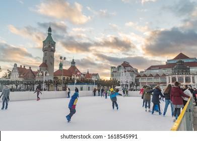 Sopot, Poland - January 16, 2020: Ice rink at main square of Sopot at sunset time.