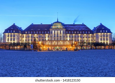 Sopot, Poland - January 1st, 2016: Night scene of the historic Grand Hotel Sopot, on the Baltic Sea close to Gdansk city in Poland.