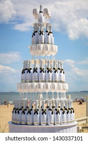 Sopot, Poland - June 19, 2019: Bottles of white  Moet champagne displayed on the beach of Sopot, Poland