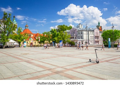 Sopot, Poland - June 19, 2019: Beautiful architecture of Sopot at Baltic sea, Poland. Sopot is major tourist destination in Poland with the longest wooden pier.