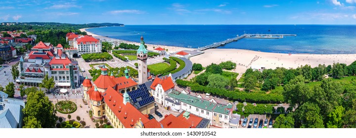Sopot, Poland - June 19, 2019: Beautiful panorama of Sopot at Baltic sea, Poland. Sopot is major tourist destination in Poland with the longest wooden pier.