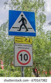 Sopot, Poland - June 27, 2017: Speed limit up to 10 km sign on bike lane in Sopot.
