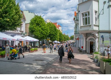 Sopot, Poland - June 27, 2017: Heroes of Monte Cassino Street (Bohaterow Monte Cassino). Most famous street in Sopot.