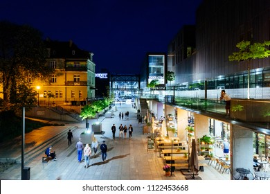 Sopot, Poland - May 13, 2018: People are enjoying their night out in an outside restauran at Heroes of Monte Cassino Street (Ulica Bohaterów Monte Cassino)