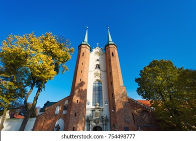 Sopot, Poland - November 05 2017: Great facade of the Oliwa Cathedral, located in Oliwa park of Gdansk