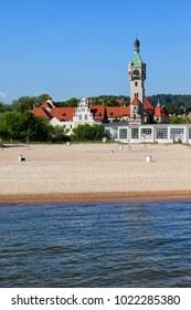 Sopot resort coastal town at Baltic Sea in Poland, beach and the Old Lighthouse