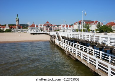 Sopot town on the Baltic Sea in Poland, pier, beach and resort skyline.