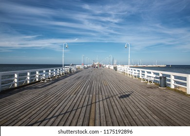 Sopot,Poland-06.22.2018: Sopot Pier in sopot city with amazing blue sky.wooden pier. Poland. Europe.