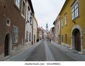 SOPRON, HUNGARY - 18 JUNE 2017: Unidentified people walk through the streets in the Old Town of Sopron