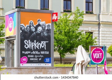 Sopron / Hungary - May 18 2019: VOLT festival commercial tower with Slipknot image at the VOLT Café.