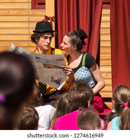 Sopron / Hungary - May 27 2017: Traveling pantomime company called `Tarkabarka` show at a school. Expressions: pushy and insensitive