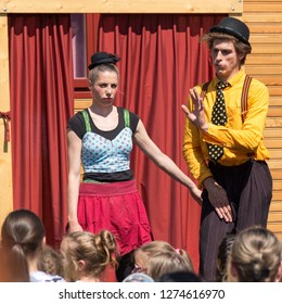 Sopron / Hungary - May 27 2017: Traveling pantomime company called `Tarkabarka` show at a school. Expressions: deadpan and shy