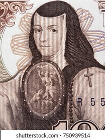 Sor Juana Ines de la Cruz portrait on Mexico 1000 pesos (1985) banknote closeup macro, philosopher, composer, and poet of the Baroque school, Mexican money close up.