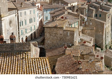 Sorano, Italy - September 17, 2017: Top view of the ancient medieval village of Sorano.