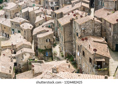 Sorano,Italy-april 29,2018:Particolar of Sorano, medieval town in Tuscany during a sunny day.