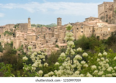 Sorano,Italy-april 29,2018:view of Sorano, medieval town in Tuscany during a sunny day.