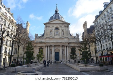 SORBONNE UNIVERSITY, PARIS/FRANCE - DECEMBER 2017: Facade of SORBONNE UNIVERSITY in a sunny day with some clouds, Paris/France.