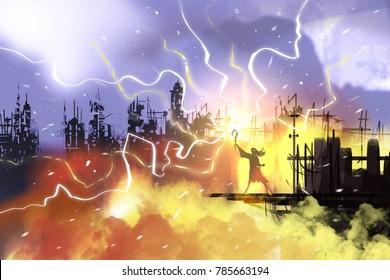 Sorcerer with magic spell, call lightning on ruined building and orange clouds, digital illustration art painting.