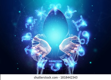Sorcerer, magician and 12 signs of the zodiac, hologram neon horoscope signs on a blue background. with the concept of fate, predictions, fortune teller