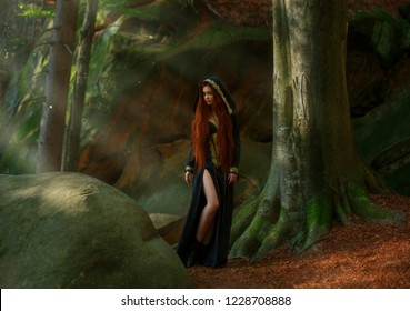 sorceress with red hair in a long dark emerald dress, hooded cloak, leather boots in the forest in the rays of moonlight. priestess preparing for sacrifice, rite. art photo with warm creative colors