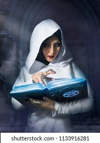 Sorceress in white hooded cloak holding a spell magic book with pentagram symbol standing in the castle.