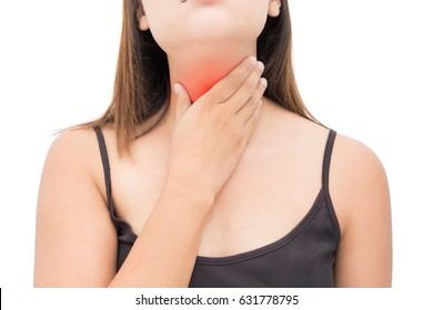 Sore throat woman on white background, Neck pain, People body problem concept