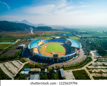 Soreang Bandung, West Java / Indonesia - June 28, 2018: Aerial View of Jalak Harupat  Football / Soccer Stadium in the Morning with Blue Sky, Official Venue Asian Games 2018