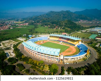 Soreang Bandung, West Java / Indonesia - June 28, 2018: Aerial View of Si Jalak Harupat  Football / Soccer Stadium in the Morning with Blue Sky, Official Venue Asian Games 2018
