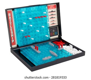 "Sorel-Tracy, Canada- May 25, 2015: A studio shot of the classic 1967 Milton Bradley game ""Battleship"" also called sea battle board game, isolated on a white background"