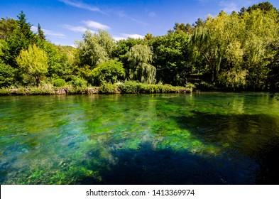 Sorgue River in Fontaine de Vaucluse, Provence, France