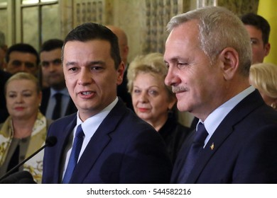 Sorin Mihai Grindeanu (L) is the new proposal for the prime minister of Romania, announced by the PSD leader, Liviu Dragnea (R), in Bucharest, Romania, on December 28, 2016.