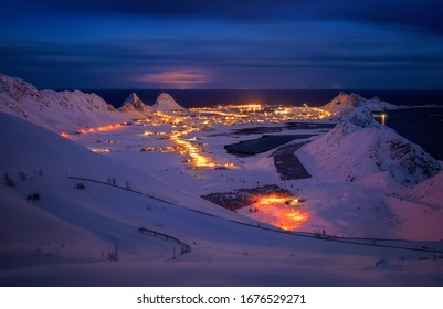 Sorland village on Vaeroy Island in winter night, Lofoten, Norway
