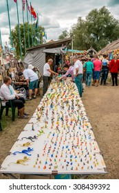 SOROCHYNTSI, UKRAINE - 21 AUGUST 2015: The fair is a large showcase for traditional handicrafts made by skilled craftsmen, including embroidery, rugs, ceramics, as well theatrical performers.