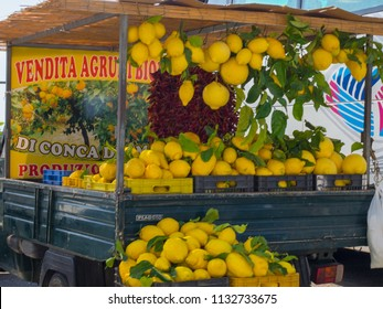 Sorrento, Amalfi Coast / Italy - May 20 2015: Lemons for sale in Sorrento on the Amalfi Coast