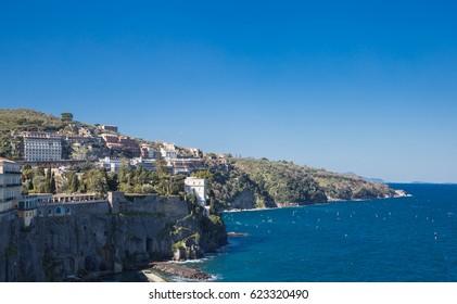 Sorrento, Campania, Italy March 12, 2017 the calm sea on a sunny day