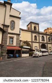 Sorrento, Campania/Italy- April 4 2018.Sorrento is a small city in Campania, Italy,  It is a popular tourist destination. This is the church in the Piazza San Antonino Abate with the tourist train