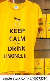 "Sorrento, Italy - 04/25/2019 : T-shirt with the inscription ""Keep calm and drink limoncello"""