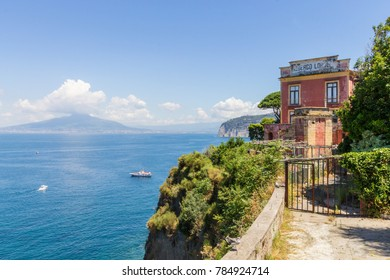 Sorrento, Italy; 23 July 2014; View of the Now-Closed Hotel, Albergo Lorelei et Londres. Background View Over Bay of Naples and Mount Vesuvius.