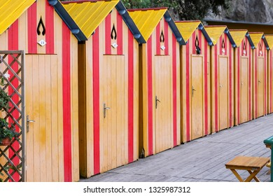 SORRENTO, ITALY - AUGUST 23, 2018: Beach Cabins in Sorrento Town, Naples, Italy