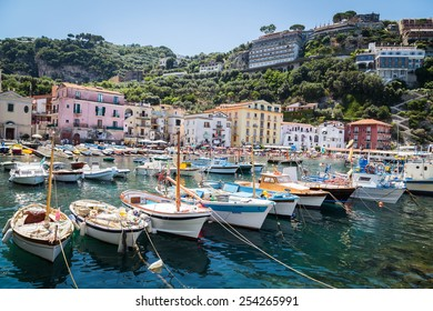 Sorrento, Italy - July 15: View of the town of Sorrento.View of Marina Grande, Sorrento. Sorrento is one of the towns of the Amalfi Coast,expensive and most beautiful European resort, on July 15, 2014