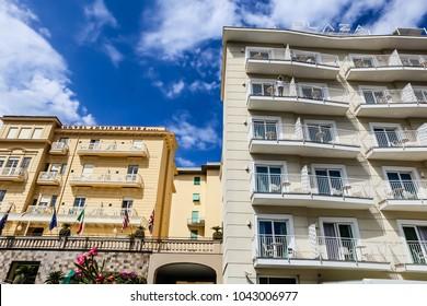 Sorrento, Italy July 16,2017: Hotels Antiche Mura and Plaza, Sorrento, Naples, Italy