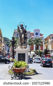 Sorrento, Italy July 16,2017: Piazza Tasso in Sorrento. Sant Antonio Abate Monument at Central Square in Sorrento, Italy.