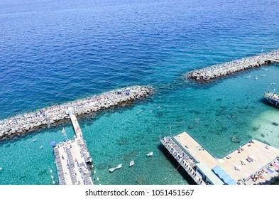 Sorrento, Italy July 16,2017: Seascape in Sorrento, Italy.